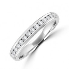 Platinum 20-Stone Diamond Channel set Eternity Ring