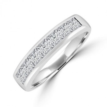 Platinum 7--stone Old cut Diamond Eternity Ring