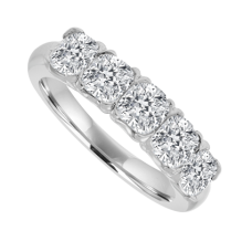 Platinum 5-stone Cushion Cut Diamond Eternity Ring
