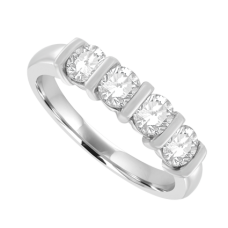 Platinum 5-stone Diamond Bar Set Eternity Ring .83ct