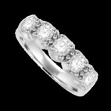 Platinum 5-Stone Diamond Eternity Ring