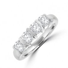 Platinum 4-Stone Bar set Diamond Eternity Ring