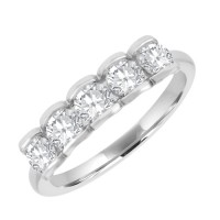 Platinum Five-Stone Diamond Scalloped Eternity Ring