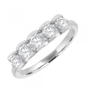 Platinum Five-Stone Diamond Scalloped Eternity Ring