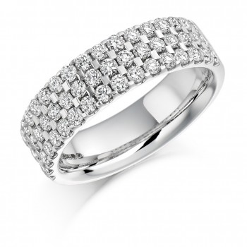Platinum 3-Row Diamond Eternity Ring