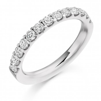 Platinum 13-stone Diamond Cut Out Eternity Ring