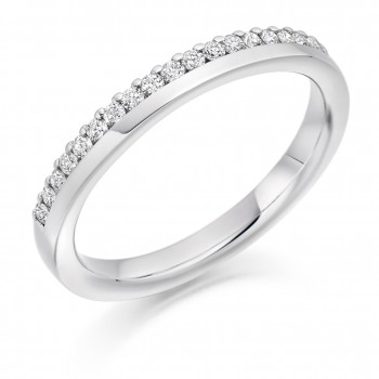 Platinum Diamond Offset Clawed Wedding Ring