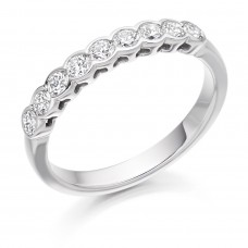 Platinum Nine Stone Diamond Rubover Eternity Ring