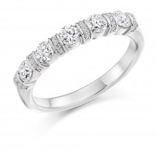 Platinum 5-Stone Diamond Pave Bar Set Eternity Ring