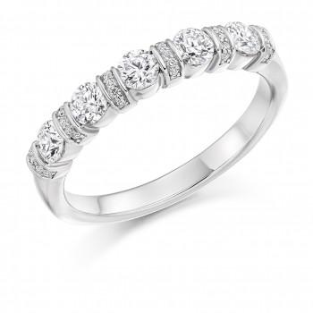 Platinum 5-Stone Diamond Pave Bar Set Eternity Ring