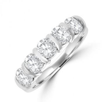 Platinum 5-stone Diamond Bar set Eternity ring