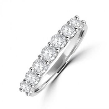 Platinum 7-stone Diamond V-mount Eternity Ring