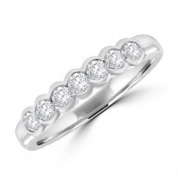 Platinum 7-stone Diamond Rubover Eternity Ring