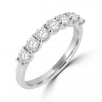 Platinum 7-stone Diamond V-claw set Eternity Ring