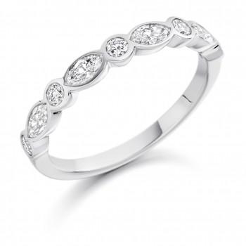 Platinum Marquise & Brill cut Diamond Eternity Ring