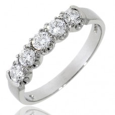 Platinum 5-stone Diamond Loopy Claw Eternity Ring