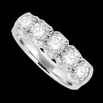 Platinum 5-stone Diamond Loopy Eternity Ring