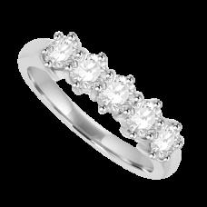 Platinum 5-stone .83ct Diamond 6-claw Eternity Ring