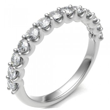 Platinum .76ct Diamond Shared Loopy Claw Eternity Ring