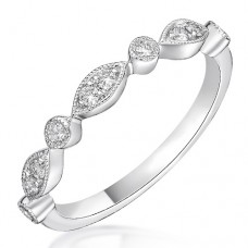 18ct White Gold Diamond Round & Marquise Petals Eternity Ring