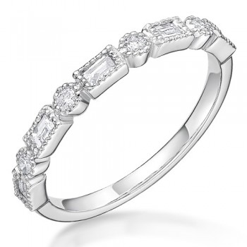Platinum Diamond Baguette & Brilliant cut Petal Eternity Ring