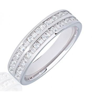 Platinum Baguette & Brilliant Double Row Diamond Wedding Ring
