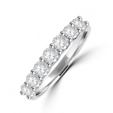 Platinum 7-stone .77ct Diamond V-claw Eternity Ring
