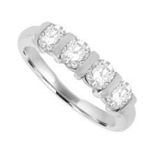 Platinum 4-stone 1.00ct Diamond Bar Set Eternity Ring