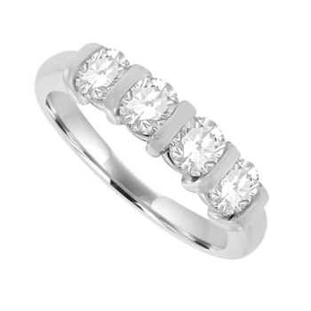 Platinum 4-stone 1.00ct Diamond Bar Set Eternity Ring