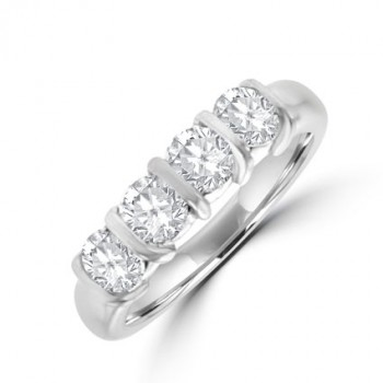 Platinum 4-stone 1.50ct Diamond Bar Set Eternity Ring