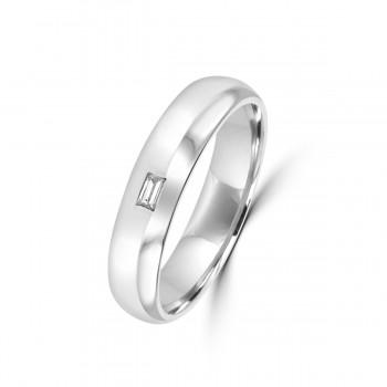 Platinum 5mm Baguette Diamond Polished Wedding Ring