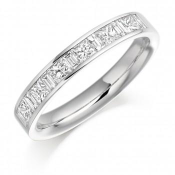 Platinum Princess & Baguette Diamond Wedding Ring