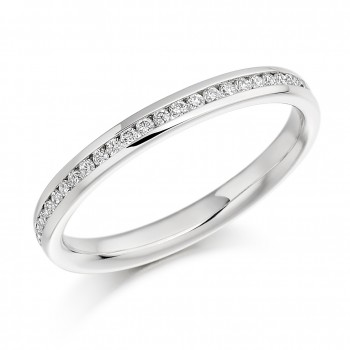 Platinum Brilliant Diamond Channel Set Wedding Band