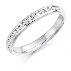 Platinum Brilliant Cut Diamond Channel Set Wedding Band.