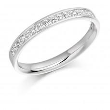 Platinum princess cut channel set wedding ring