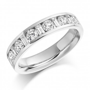 Platinum Baguette & Brilliant cut Diamond Wedding/Eternity Ring