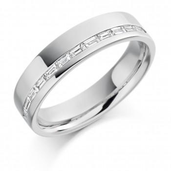 Platinum Baguette Diamond Offset Wedding Ring