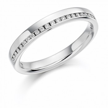 Platinum Diamond Offset Wedding Ring