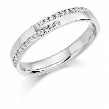 Platinum Double Row Diamond Cross over Wedding Ring