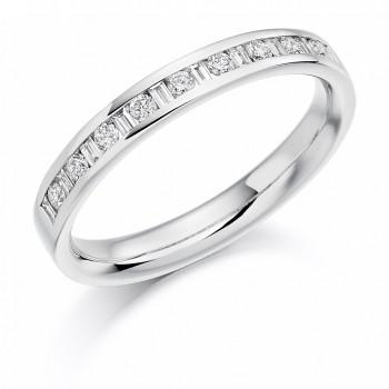 Platinum Baguette & Brilliant cut Diamond Wedding Ring