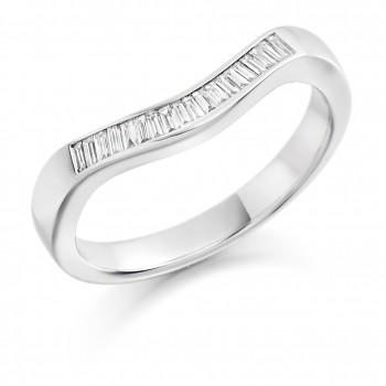 Platinum Baguette .20ct Diamond Bow Shaped Wedding/Eternity