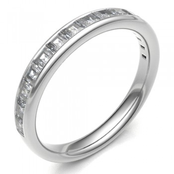 Platinum Princess cut .63ct Diamond Eternity / Wedding Ring