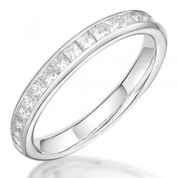 Platinum Princess .58ct Diamond Channel Wedding / Eternity Ring