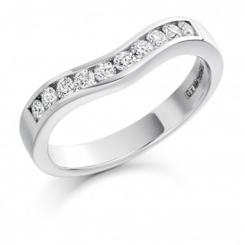 Platinum .33ct Diamond Bow Shaped Wedding/Eternity Ring