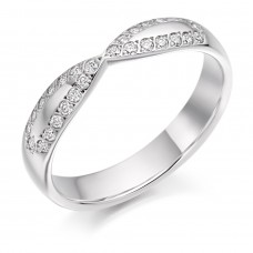 Platinum Diamond Ribbon Shaped Wedding Ring