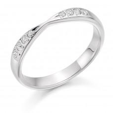 Platinum 8-stone Diamond Ribbon Shaped Wedding Ring