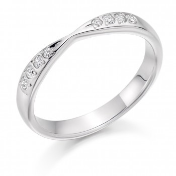 Platinum 8-stone Diamond Ribbon Shaped Wedding Ring