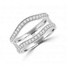 Platinum Double Bow Shaped Diamond Eternity Connector Ring