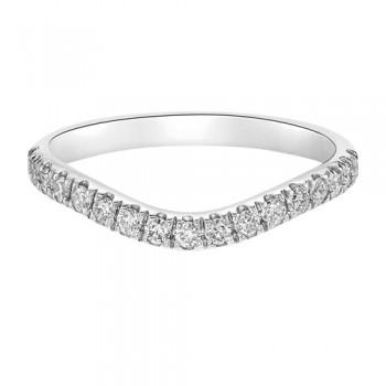18ct White Gold Wishbone .26ct Diamond Castle Wedding Ring