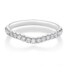 Platinium Wishbone .34ct Diamond Castle set Wedding Ring